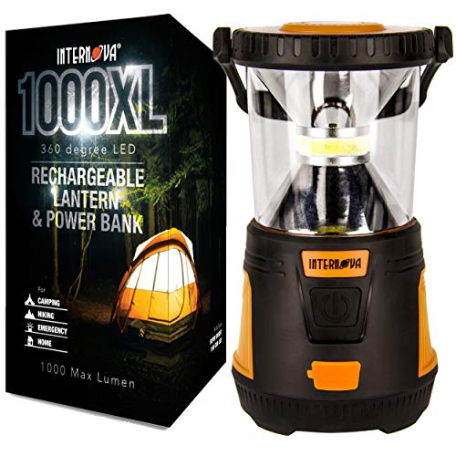 Internova Rechargeable Camping Lantern Power Bank - Massive Brightness Adjustable 360 LED Arc Lighting - Emergency - Backpacking - Construction - Hiking - Auto - Home (Cadmium Orange)