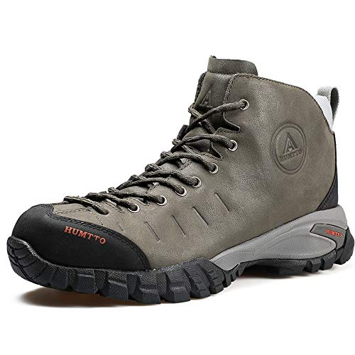 Mens Hiking Boots Waterproof Leather Climbing Sports Shoes Outdoor Camping Hunting Sneakers (11.5, 210371A Gray)