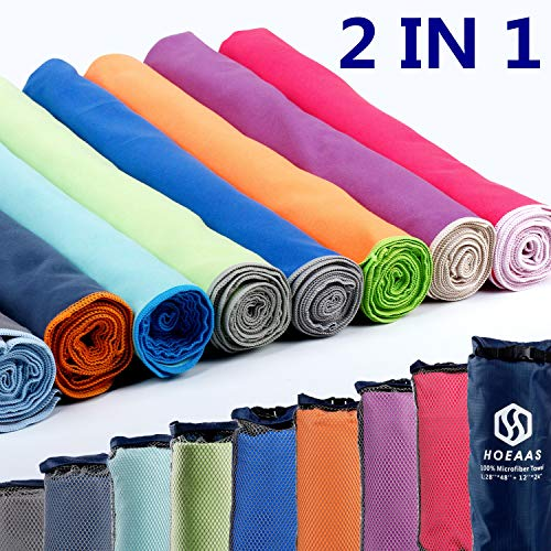 """HOEAAS 2 Pack Microfiber Travel and Sports and Beach Towel-S (32""""x16""""x2)-Lightweight, Compact, Super Absorbent, Fast Dry for Outdoor, Yoga, Camping, Gym+ Buckled Carry Bag(S, Purple)"""