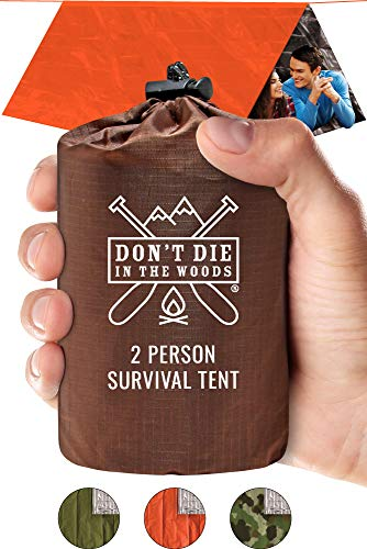 World's Toughest Ultralight Survival Tent • 2 Person Mylar Emergency Shelter Tube Tent + Paracord • Year-Round All Weather Protection For Hiking, First Aid Kits, & Outdoor Survival Gear