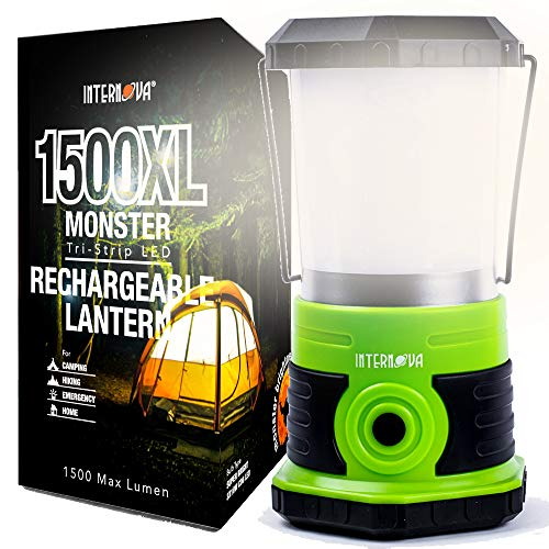 Internova Monster LED Camping Lantern - Rechargeable - Massive Brightness - Perfect for Hurricane - Camp - Emergency Kit (Green 1500 Lumen Rechargeable)