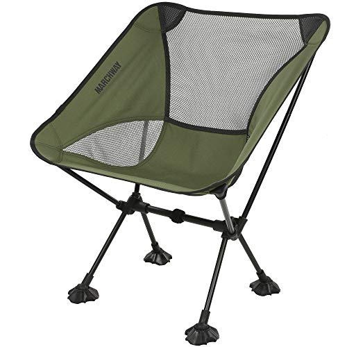 MARCHWAY Ultralight Folding Camping Chair with Anti-Sinking Wide Feet, Portable Compact for Outdoor Camp, Beach, Travel, Picnic, Hiking, Lightweight Backpacking (Green)