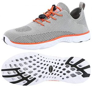ALEADER Mens Water Shoes, Xdrain Venture Knit, Travel Sneakers Sand/Orange 9.5 D(M) US