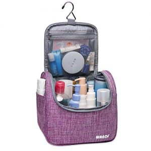 WANDF Hanging Toiletry Bag Travel Cosmetic Organizer Shower Bathroom Bag for Men Women Water-resistant (M-Light Purple)