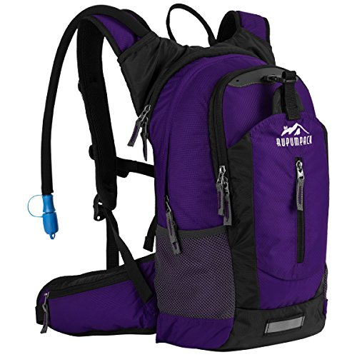 Insulated Hydration Backpack Pack with 2.5L BPA FREE Bladder - Keeps Liquid Cool up to 4 Hours, Lightweight Daypack Water Backpack For Hiking Running Cycling Camping, 18L (Purple)
