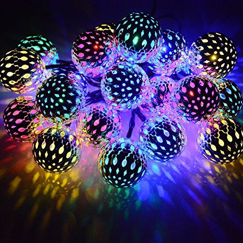 Dephen Solar String Lights Moroccan Ball Multicolor 15ft 20LED Globe Fairy String Lights Solar Powered Orb Lantern Christmas Lighting for Outdoor Garden, Yard, Patio, Xmas Tree, Party, Home Decoration