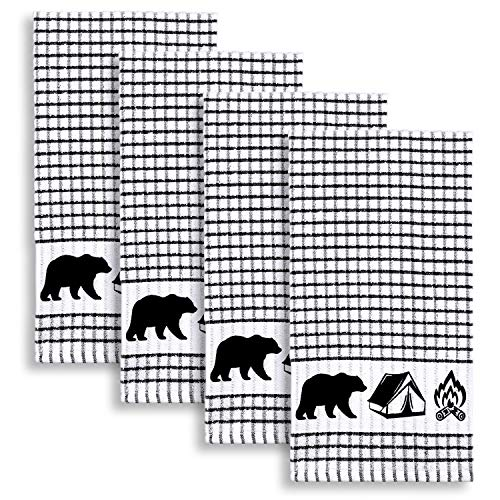 Cackleberry Home Wilderness Camping Windowpane Check Cotton Terrycloth Kitchen Towels, Set of 4 (Black)