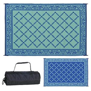 Reversible Mats Outdoor Patio 6-Feet x 9-Feet, Blue/Light-Green RV Camping Mat