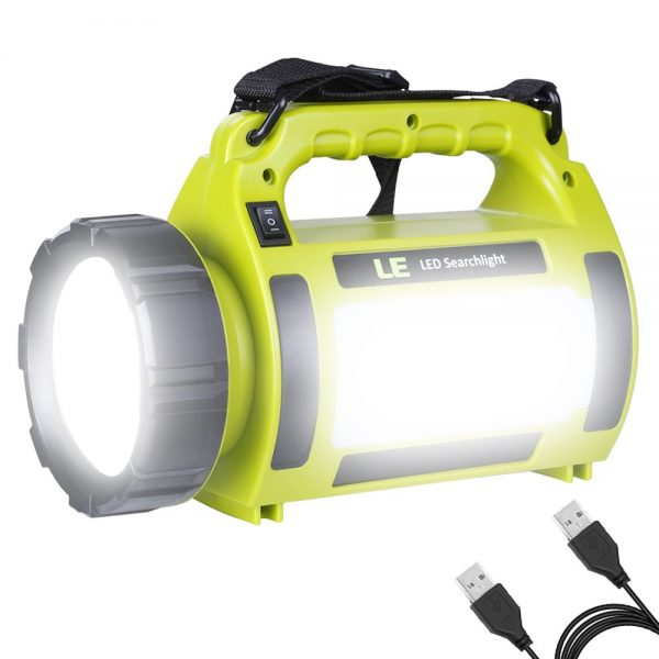 LE Rechargeable LED Camping Lantern, 1000LM, 5 Light Modes, 3600mAh Power Bank, IPX4 Waterproof, Perfect Lantern Flashlight for Hurricane Emergency, Hiking, Home and More, USB Cable Included.