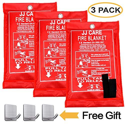 """JJ CARE Fire Blanket Fire Suppression Blanket 40""""x40"""" +3 Hooks, Fire Blanket Kitchen, Fire Emergency Blanket, Fire Retardant Blankets, Fiberglass, Fire Safety Blanket for Camping-Kitchen-Car Emergency"""