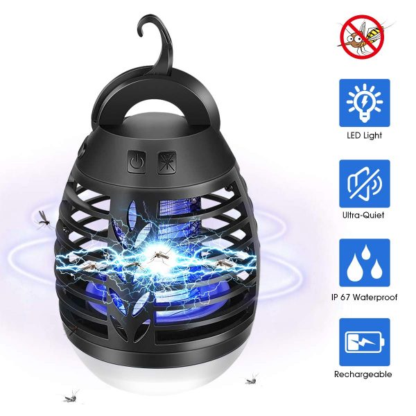 AMUFER Bug Zapper Camping Lantern 2 in 1 Electric Mosquito Killer Lamp Waterproof Mosquito Zapper Insect Fly Traps Killer Camping Light USB Rechargeable Battery for Indoor Outdoor Use