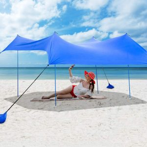 Tangkula 7 x 7 ft Family Beach Sunshade, UPF50+ Sun Shade Tent with Aluminum Poles, 4 Sandbag Anchor and 4 Peg Stake, Lightweight but Heavy Duty Beach Canopy with Carry Bag