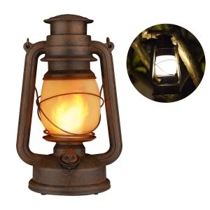 YINUO LIGHT Antiqued Vintage Lantern, Realistic Dancing Flame Outdoor Hanging Lantern Battery Operated with Remote Control LED Night Lights for Garden Patio Deck Yard Path(Copper)
