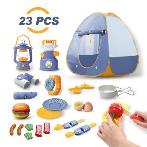 DEERC Kids Camping Tent Set Toys 23pcs Includes Pop Up Play Tent, Camping Gear Tools Adventure Set, Play Kitchen Food Set, Indoor and Outdoor Toys Gifts for Toddlers Kids Boys Girls