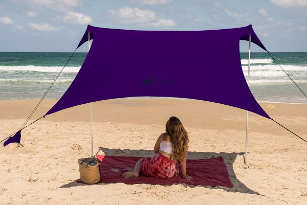 Family Beach Tent Canopy Sunshade with Sandbag Anchors - Simple & Versatile. SPF50, Lycra Sun shelter for The Beach,Camping and Outdoors (Eggplant, Large)
