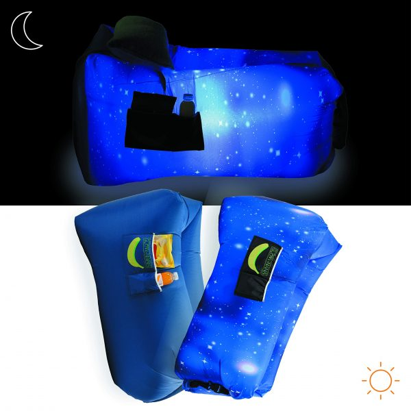 Rukket Sports Glow-Nana, Light Up Inflatable Lounger for Kids, Blow Up Chair and Air Couch for Children, Sofa Hammock for Camping, Beach, Festival, LED Portable Wind Furniture (Galaxy)