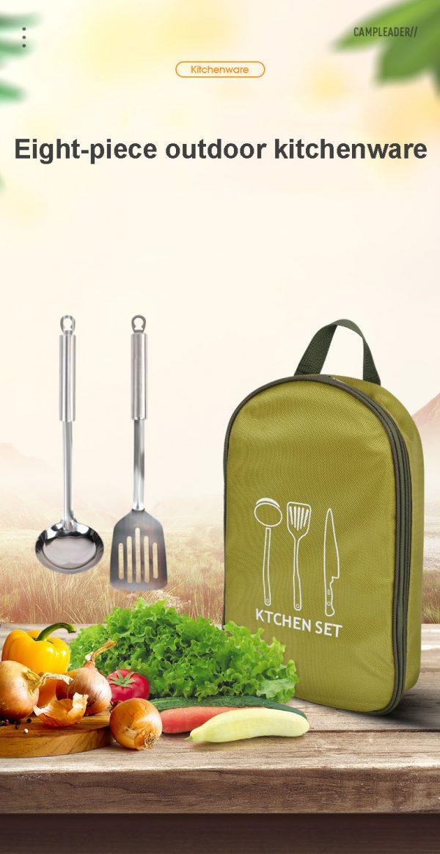 Outdoor Picnic Cookware Set Fork Knife Utensil Scissors