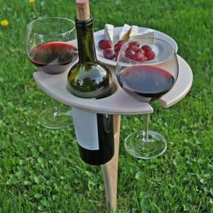 Outdoor Wine Table With Foldable