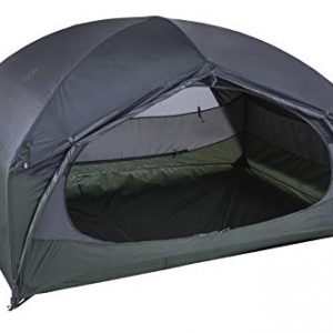 Compact three-person igloo tent, two D-Shaped entrances with two spacious apses for equipment; self-supporting inner tent with upper No-See-Um mesh to protect from vermin and for ventilation