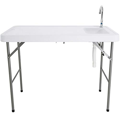 Portable Folding Fish Table with Sink Faucet for Picnic