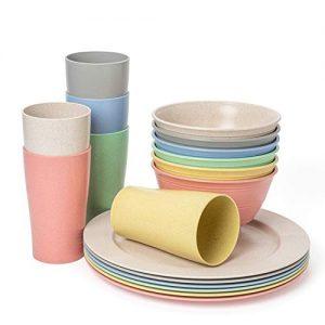 Euodia Wheat Straw Plastic Dinnerware Sets for 6