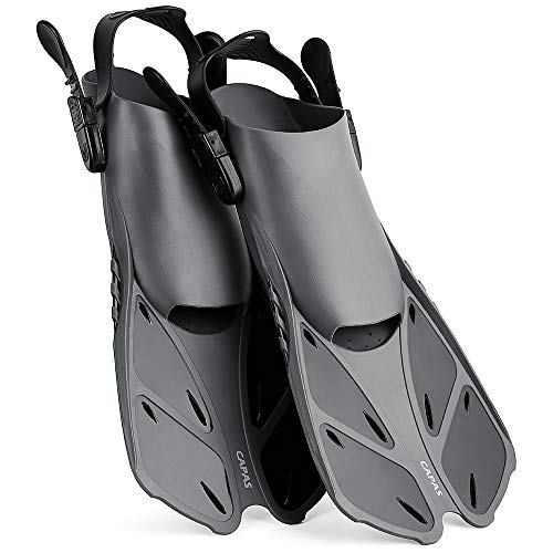 Swim Fins Travel Size Short Adjustable for Snorkeling Diving