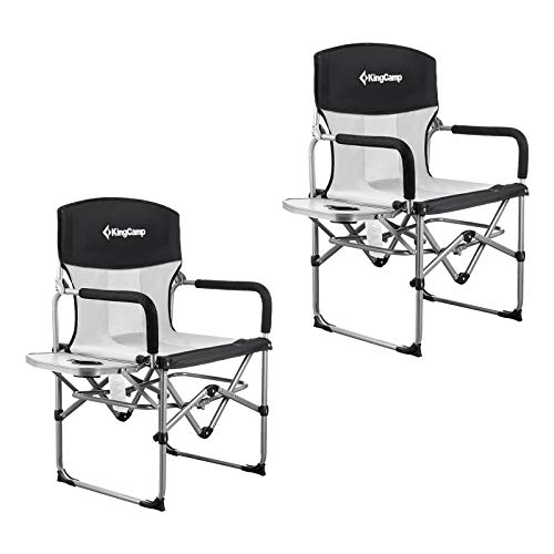Heavy Duty Folding Mesh Chair with Handle and Side Table