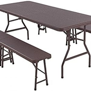 Folding Table and Benches Set for Outdoor, Picnic, Garden