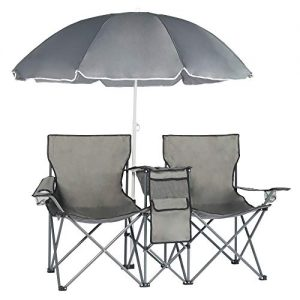 Double Folding Picnic Camping Chairs w/Removable Umbrella
