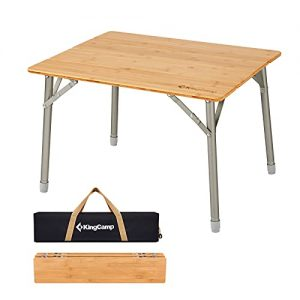 Bamboo Folding Camping Table with Adjustable Height