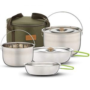 Campfire Cooking Pots and Pans Set for Hiking