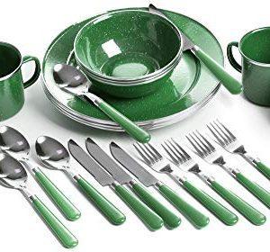 Enamel Tableware Set: Plates, Bowls, Mugs & Utensils