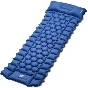 Inflatable Camping Mattress with Foot Press and Pillow
