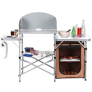 Folding Grill Table with Storage Portable Camp Cook Station
