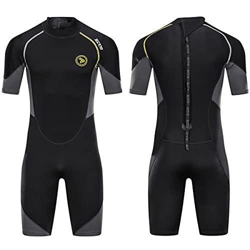 Wetsuit Shorty for Men 1.5mm Neoprene Back Zip