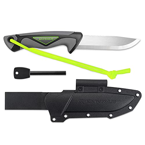 Magnesium Firestarter, Serrated Edge Camp Knife, Camping Hunting Knife