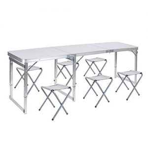Folding Picnic Table Lightweight Heights Adjustable for Outdoor Camping