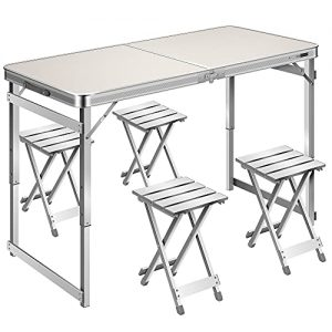 Adjustable Height Folding Picnic Table for Camping BBQ Party