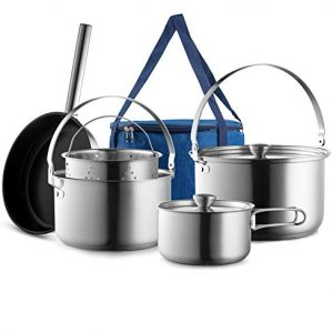 Camping Cookware Set Frying Pan Steamer with Travel Tote Bag