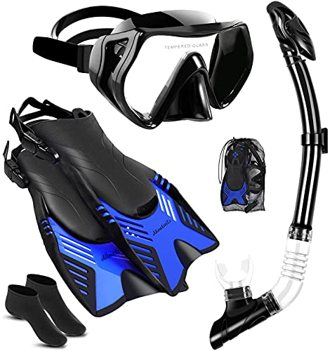 Snorkel Set for Adults with Adjustable Dive Flippers