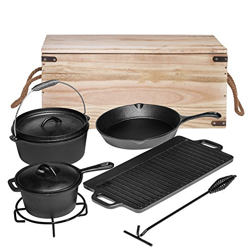 Heavy Duty Cast Iron Dutch Oven Camping Cooking Set