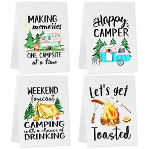 Camping Kitchen Towels Set of 4 Dish Towels White
