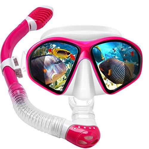 Powsure Kids Snorkel Set, Dry Top Snorkel