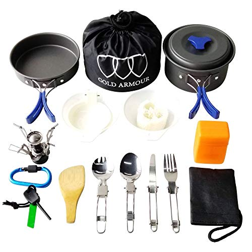 Camping Cookware Mess Kit Backpacking Gear & Hiking Outdoors