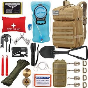 Tactical Backpack 42L with Hydration Bladder and Survival Gear