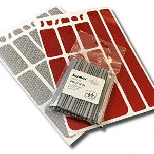 Bike Spoke Reflectors, Red and White Reflector Stickers