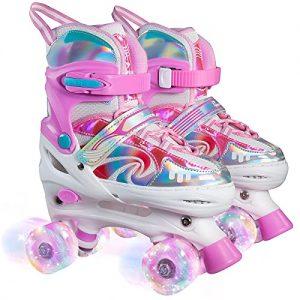 PURKUN Vortex Candy Pink 4 Sizes Adjustable Roller Skates