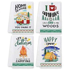 Tree Camping Dish Towels and Dish Cloths