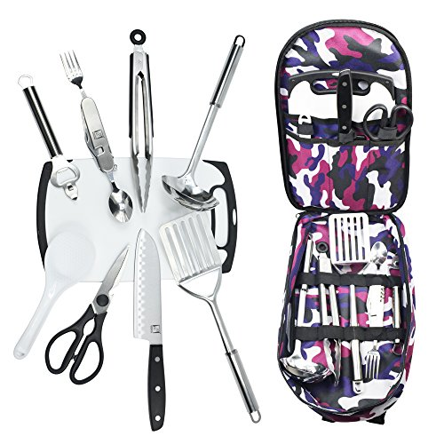 Camping Utensils Cooking Set with Kitchen Knife and Equipment