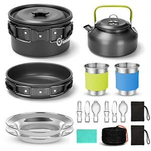 Lightweight Pot Pan Kettle Set with Stainless Steel Cups Plates